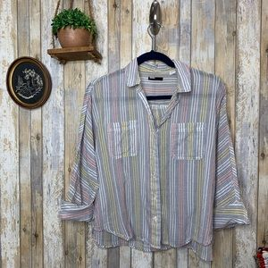 UO BDG Striped Button Down Soft Flannel